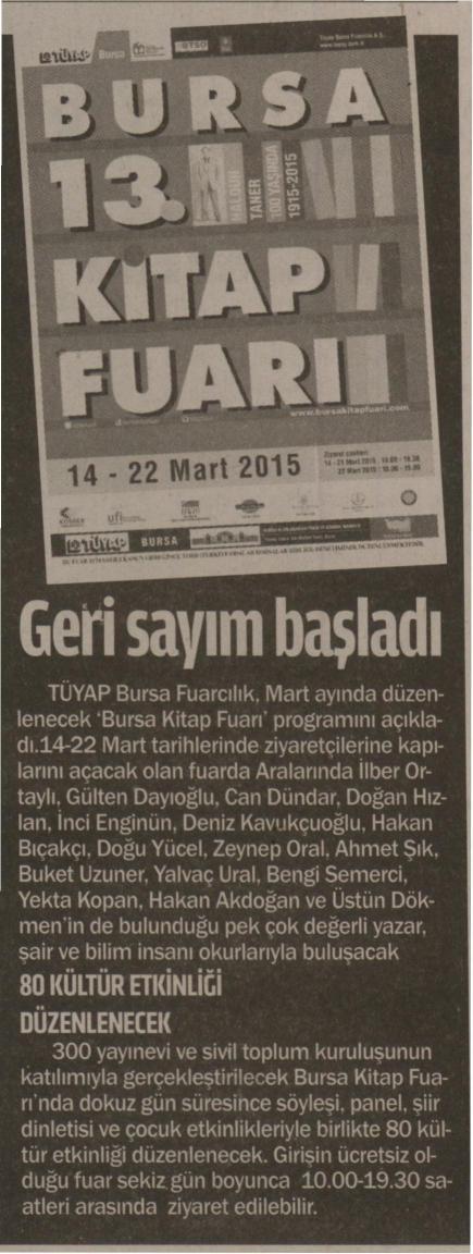 Bursa 13. Kitap Fuarı geri sayım başladı - AKTÜEL 28.02.2015