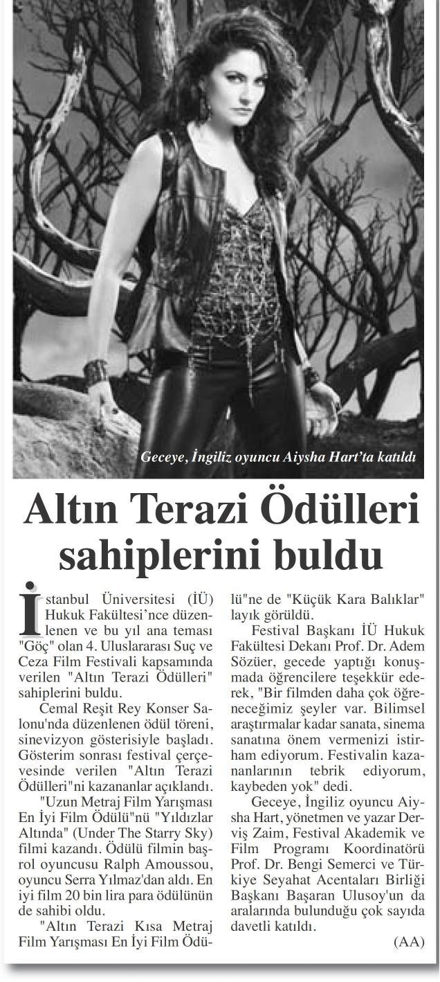 Altın Terazi Ödülleri sahiplerini buldu - BAŞKENT GAZETESİ 13.11.2014