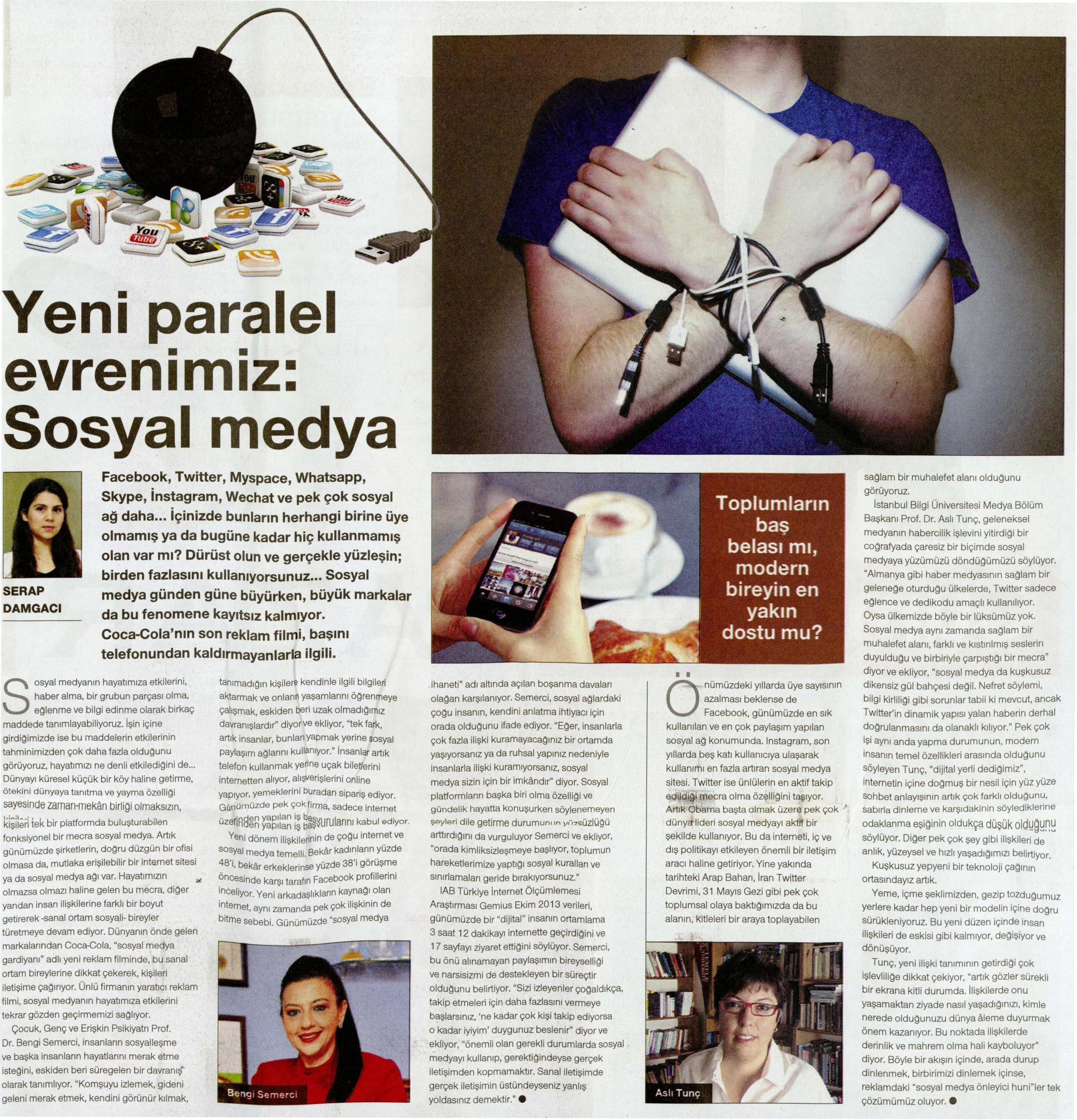 Yeni paralel evrenimiz: Sosyal medya - CUMHURİYET PAZAR 23.03.2014