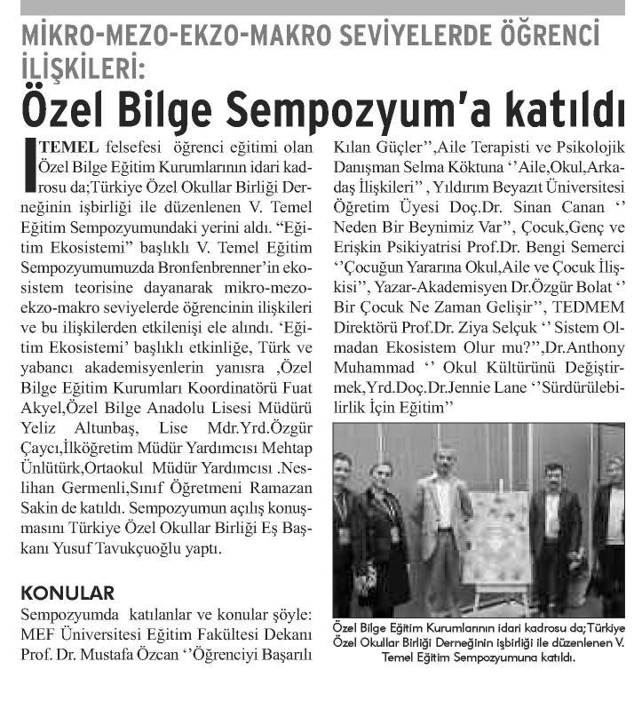 Özel Bilge Sempozyuma Katıldı - DEMOKRAT GEBZE  20.12.2014 �<br />