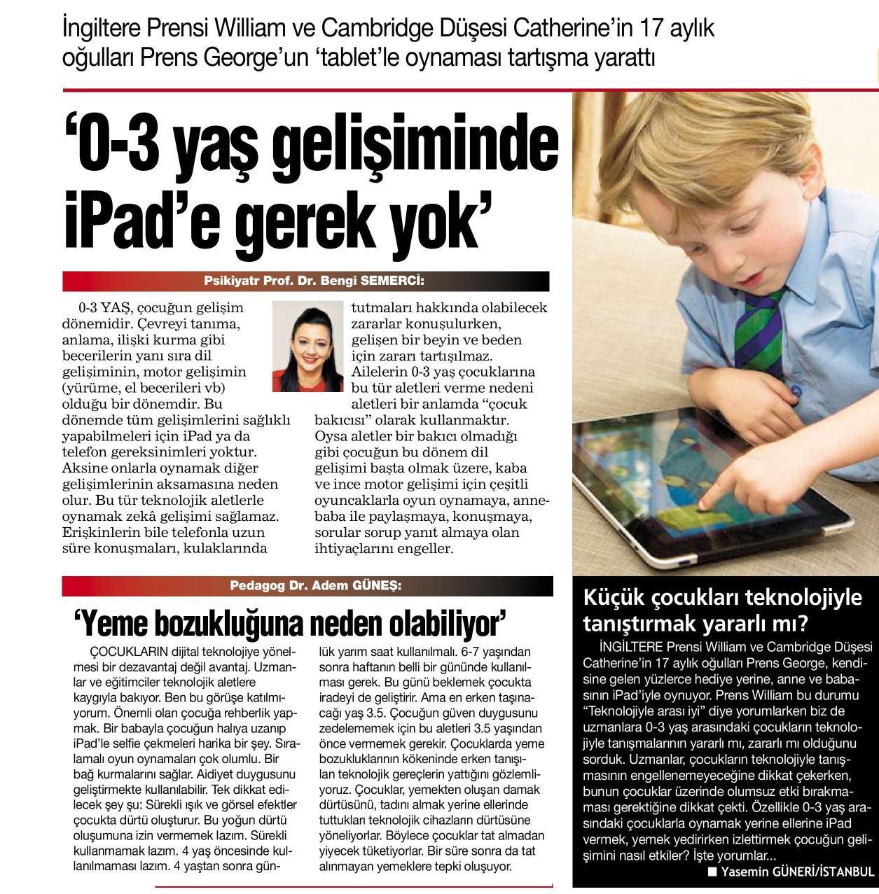 0-3 yaş gelişiminde iPad'e gerek yok - HABERTÜRK 13.12.2014