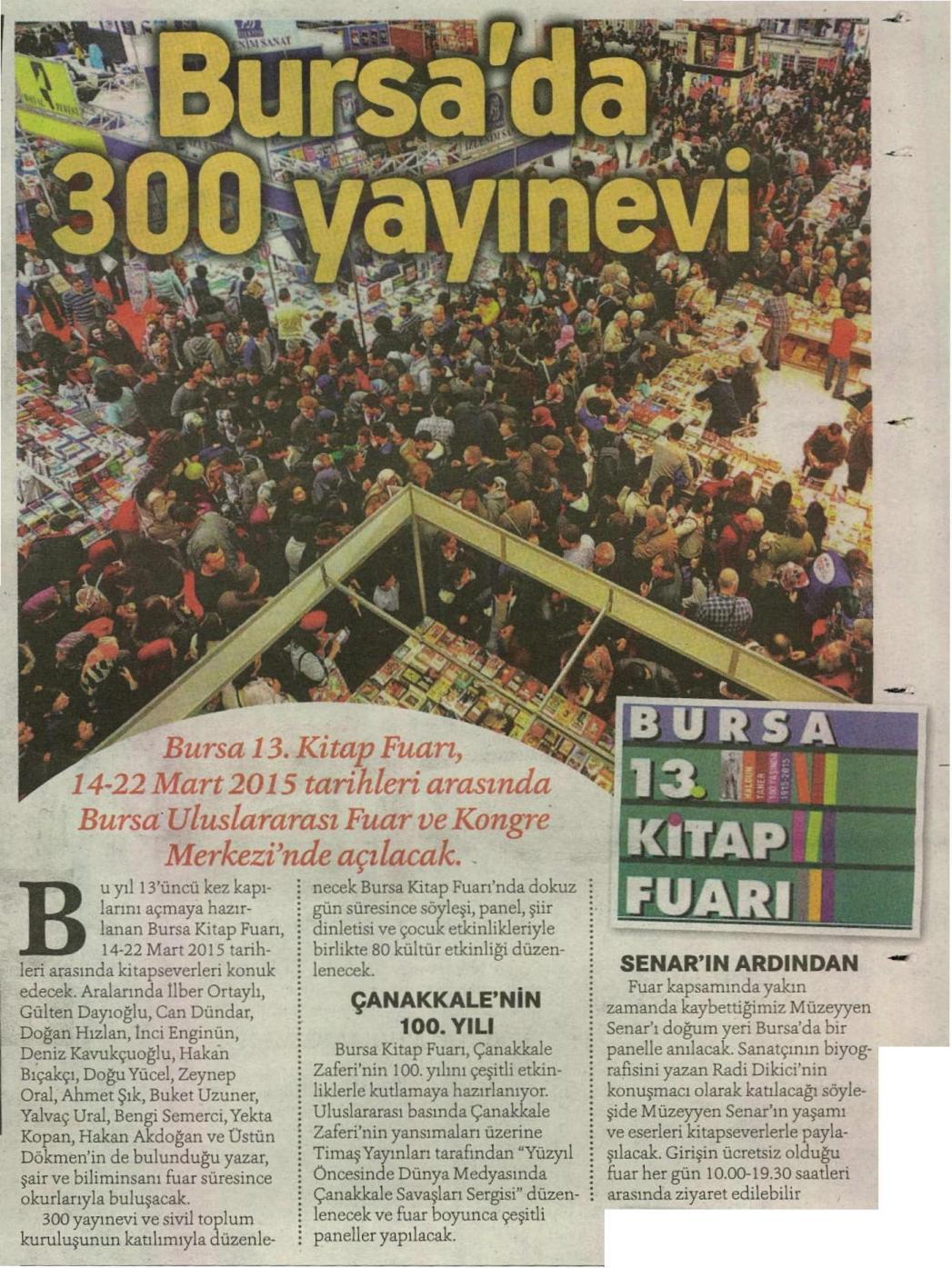 Bursa'da 300 yayınevi - HÜRRİYET KAMPÜS 11.03.2015 </p> <p>