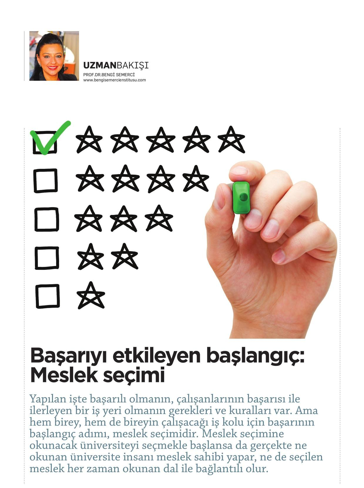 Başarıyı etkileyen başlangıç: Meslek seçimi - KARİYER 01.07.2014