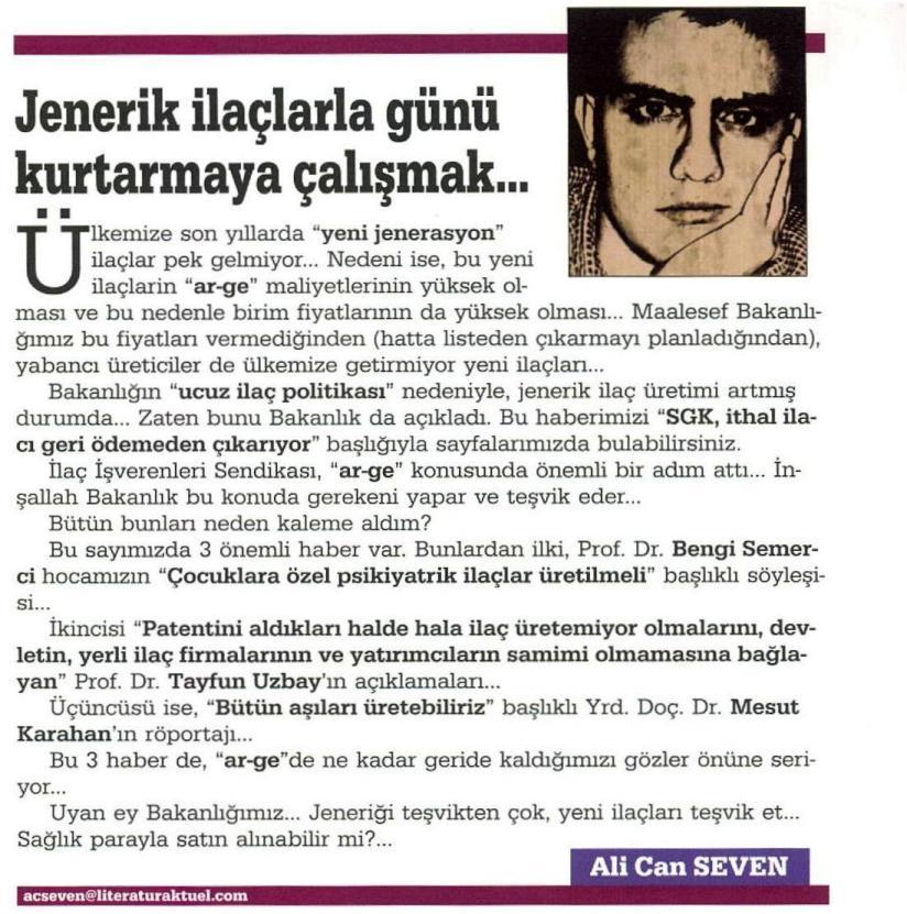 Jenerik ilaçlarla günü kurtarmaya çalışmak - LİTERATÜR AKTÜEL 01.11.2014