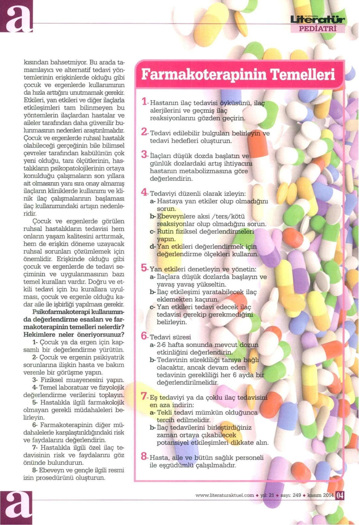 Farmakoterapinin temelleri - LİTERATÜR AKTÜEL  01.11.2014</p> <p>