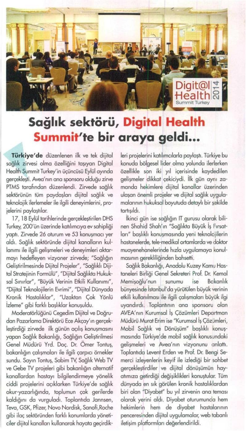 Sağlık sektörü, Digital Health Summit'te bir araya geldi... - MEDİ KONGRE 01.10.2014