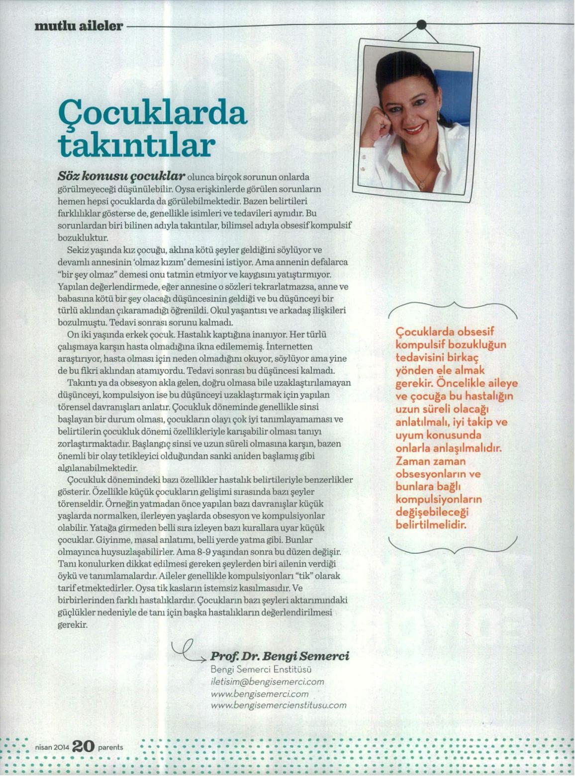 Çocuklarda takıntılar - PARENTS 01.04.2014
