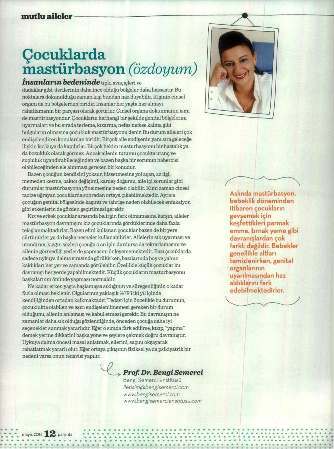 Çocuklarda mastürbasyon (özdoyum) - PARENTS 01.05.2014