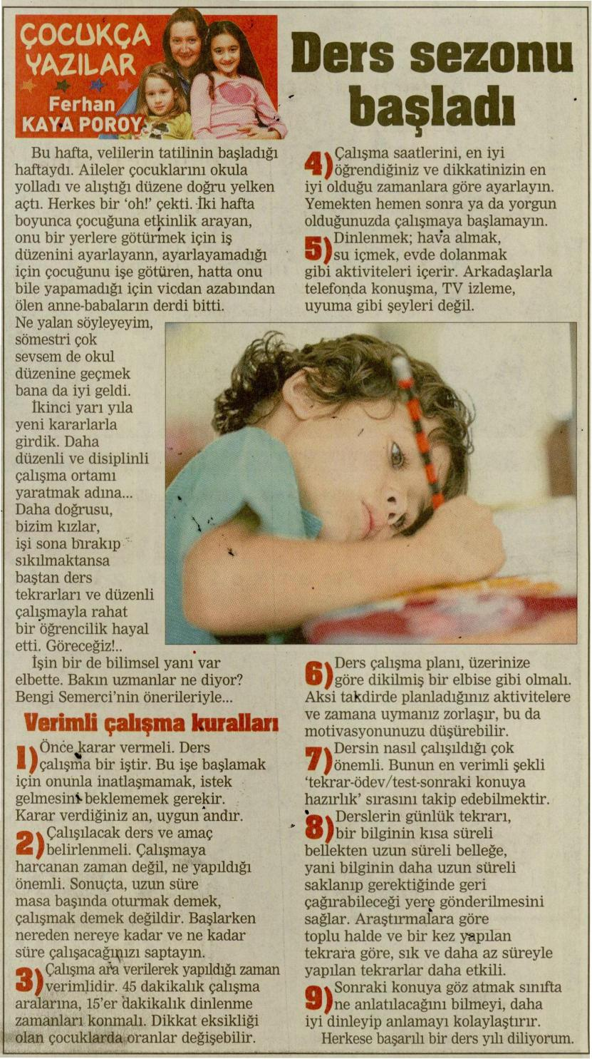 Ders Sezonu Başladı - 15.02.2014 POSTA CUMARTESİ
