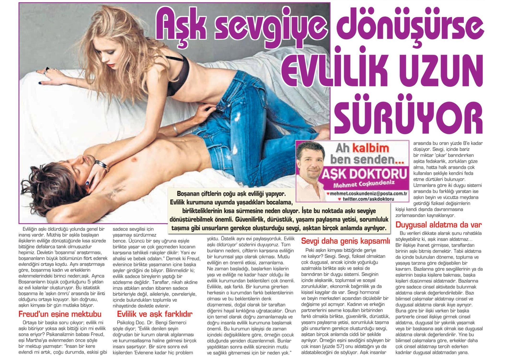 Aşk sevgiye dönüşürse evlilik uzun sürüyor - POSTA CUMARTESİ 23.08.2014