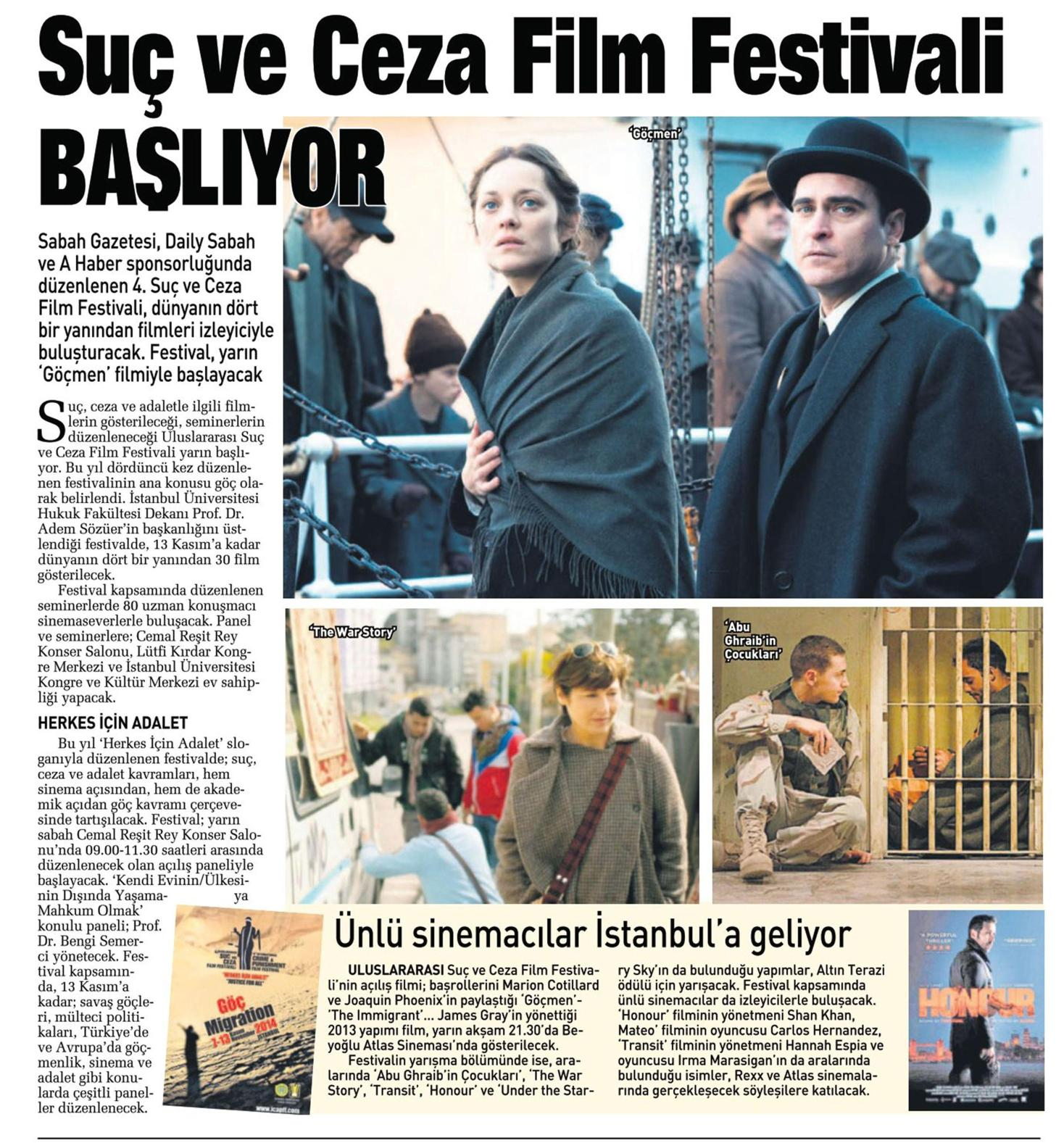 Suç ve Ceza Film Festivali başlıyor - SABAHLA GÜNAYDIN 06.11.2014