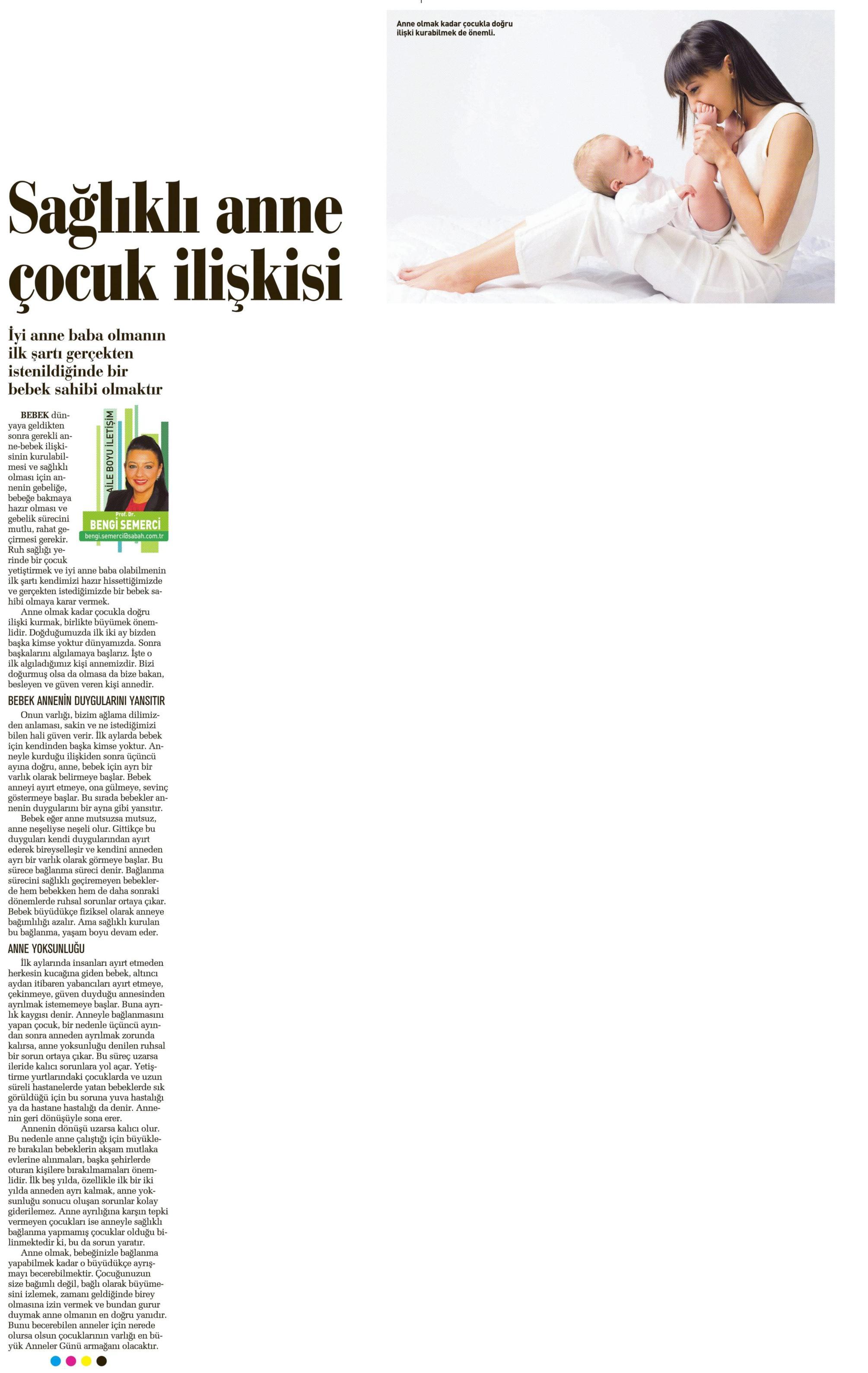 Sağlıklı anne çocuk ilişkisi - SABAH ANNELER GÜNÜ 09.05.2014
