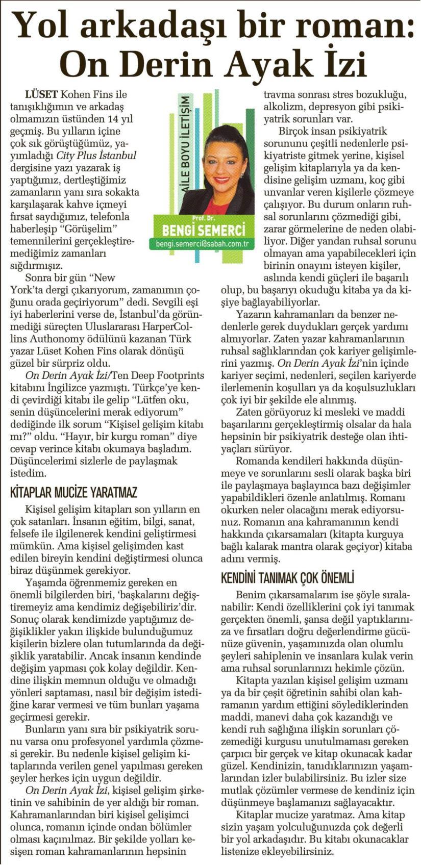 Yol arkadaşı bir roman: On Derin Ayak İzi - SABAH CUMARTESİ08.03.2014