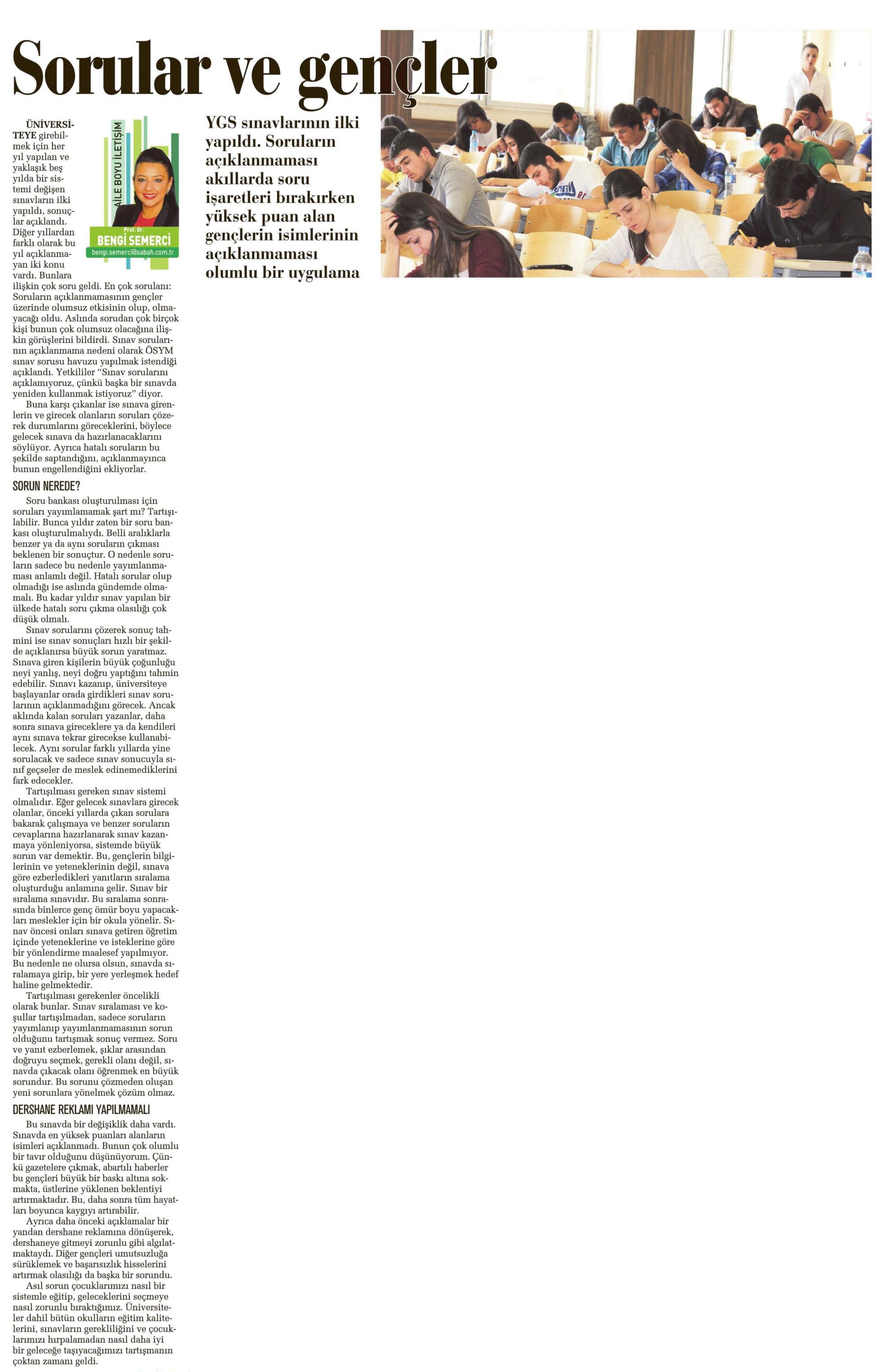 Sorular ve gençler - SABAH CUMARTESİ 05.04.2014