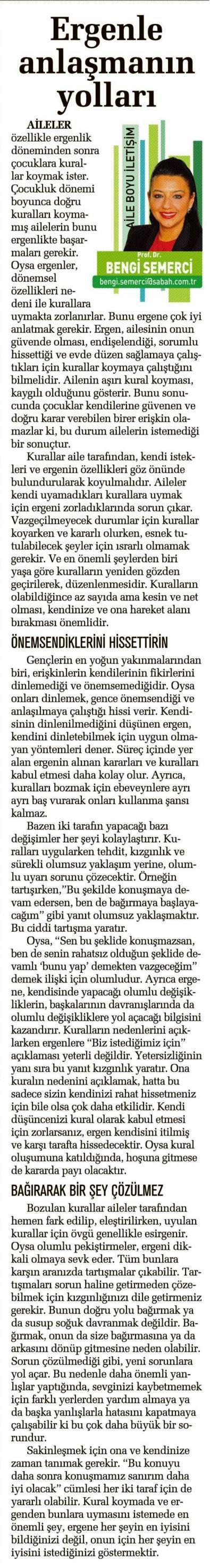 Ergenle Anlaşmanın Yolları - SABAH CUMARTESİ 19.04.2014