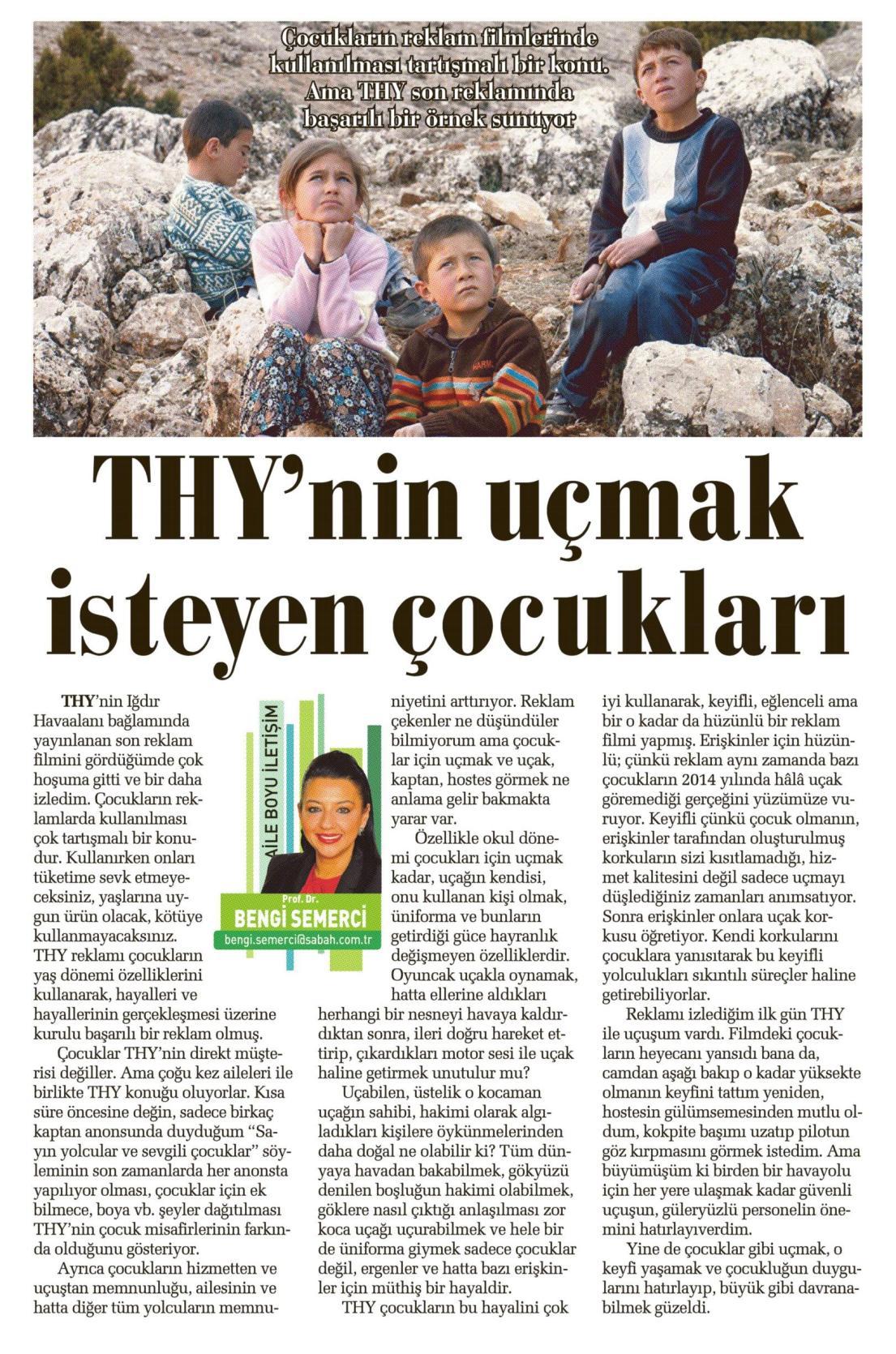THY'nin uçmak isteyen çocukları - SABAH CUMARTESİ 03.05.2014