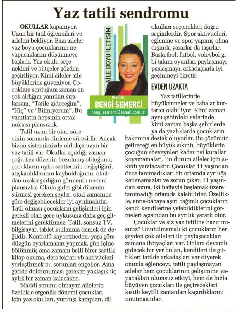 Yaz tatili sendromu - SABAH CUMARTESİ 07.06.2014