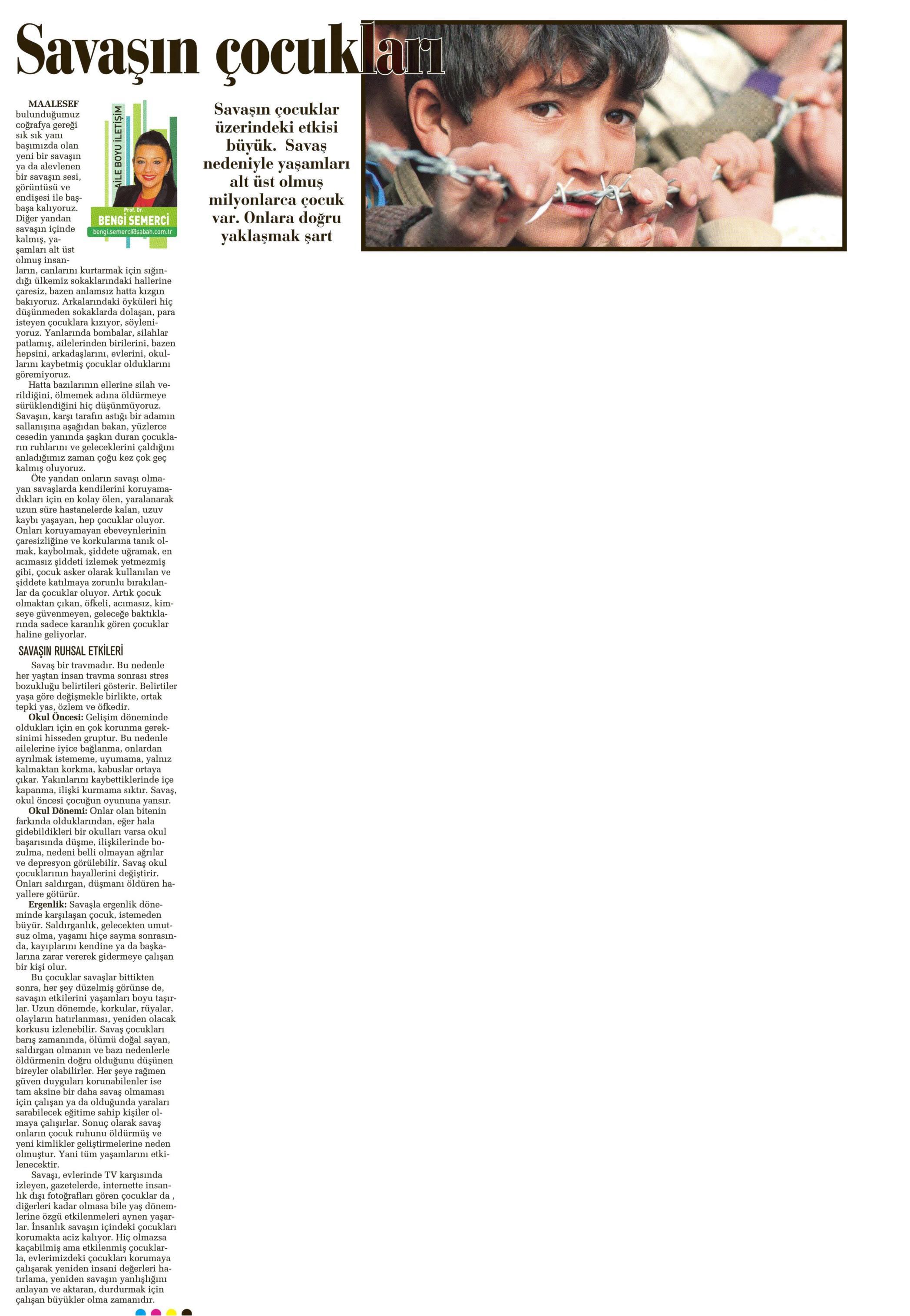 Savaşın Çocukları - SABAH CUMARTESİ 21.06.2014