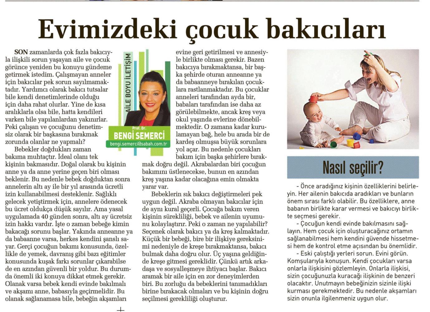 Evimizdeki Çocuk Bakıcıları - SABAH CUMARTESİ  28.06.2014
