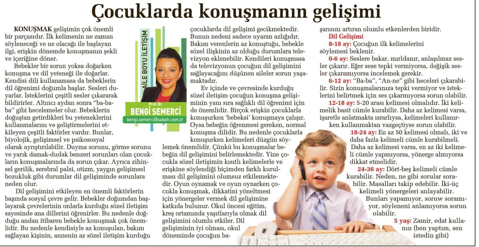 Çocuklarda konuşmanın gelişimi - SABAH CUMARTESİ 30.08.2014