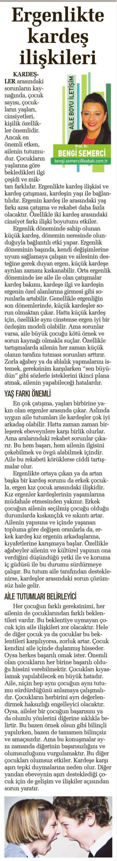 Ergenlikte kardeş ilişkileri - SABAH CUMARTESİ 27.9.2014