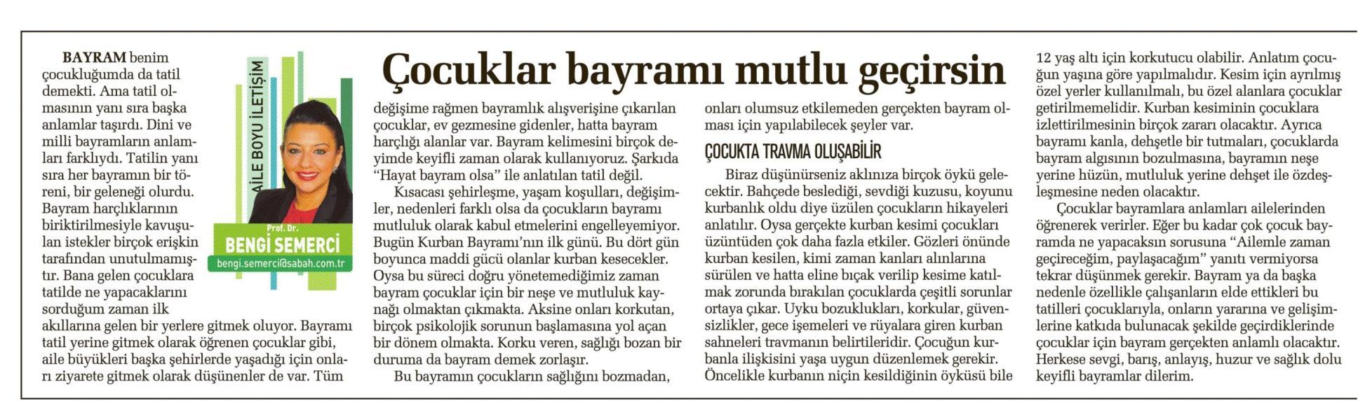 Çocuklar bayramı mutlu geçirsin - SABAH CUMARTESİ 04.10.2014