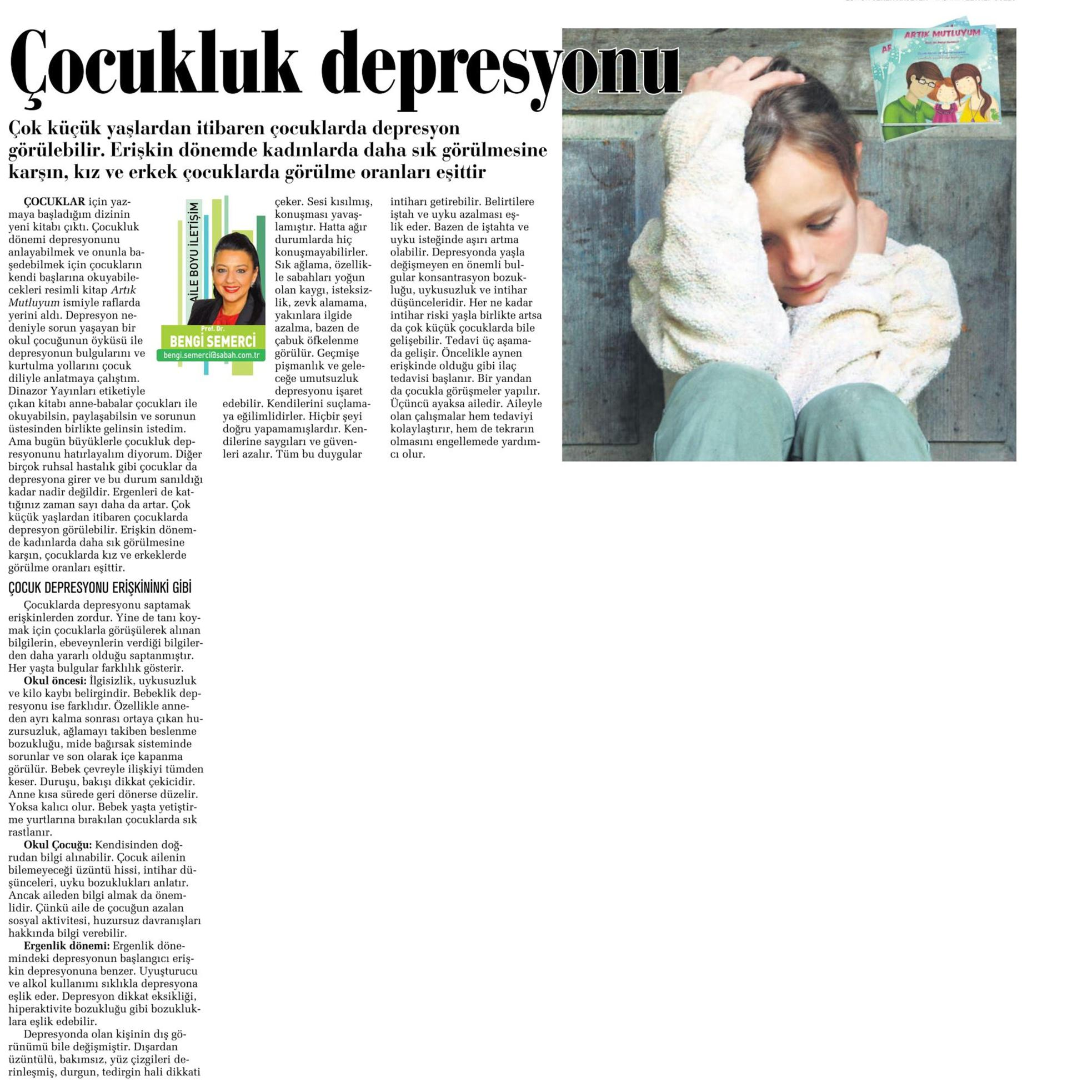 Çocukluk depresyonu - SABAH CUMARTESİ 11.10.2014