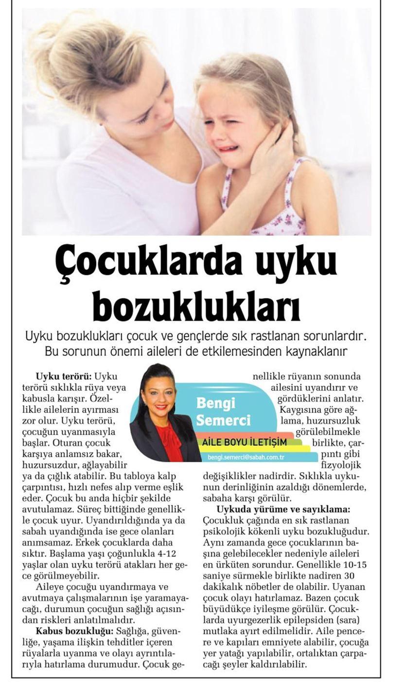 Çocuklarda uyku bozuklukları - SABAH CUMARTESİ  25.10.2014