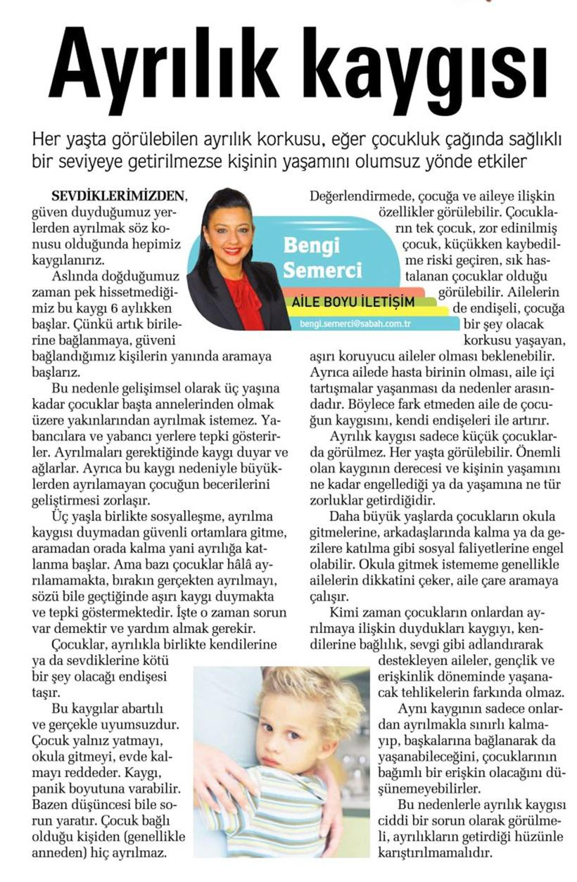 Ayrılık kaygısı - SABAH CUMARTESİ 06.12.2014