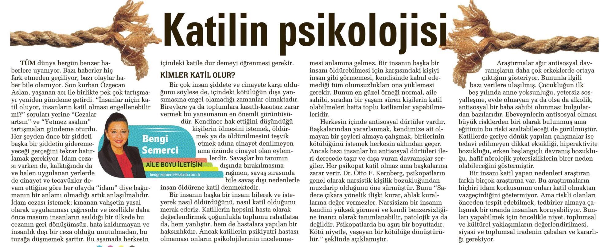 Katilin psikolojisi - SABAH CUMARTESİ 21.02.2015 </p> <p>