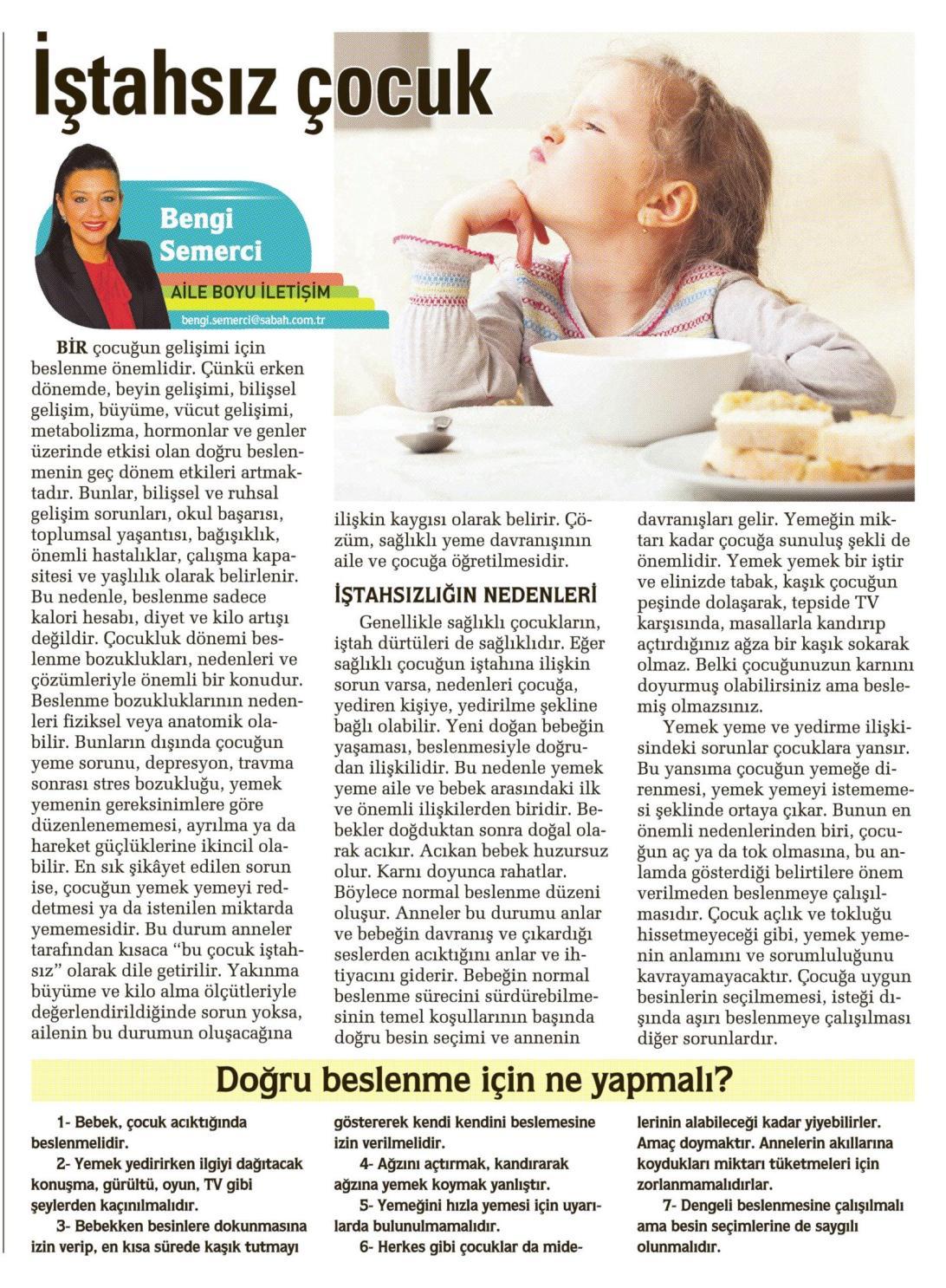 İştahsız çocuk - SABAH CUMARTESİ 28.03.2015 </p> <p>