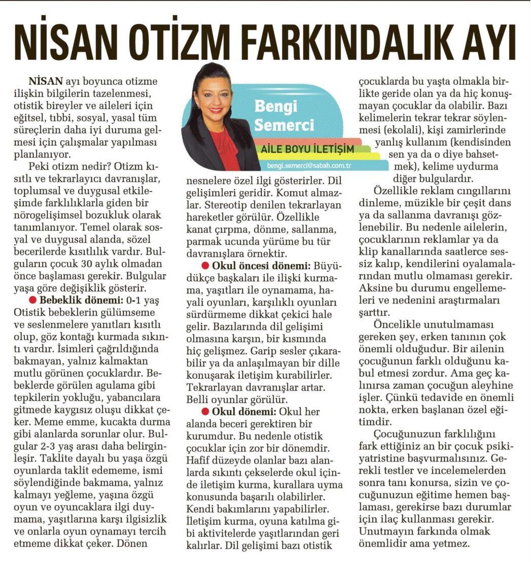 Nisan otizm farkındalık ayı - SABAH CUMARTESİ 04.04.2015 </p> <p>