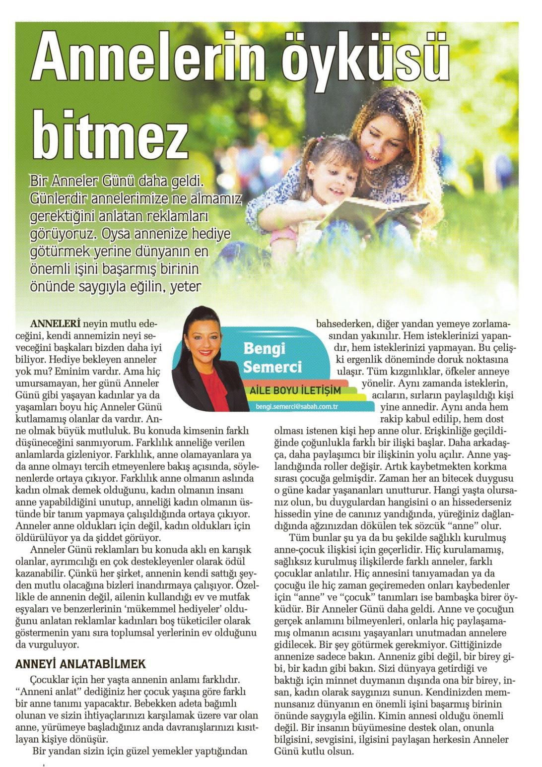 Annelerin öyküsü bitmez - SABAH CUMARTESİ 09.05.2015