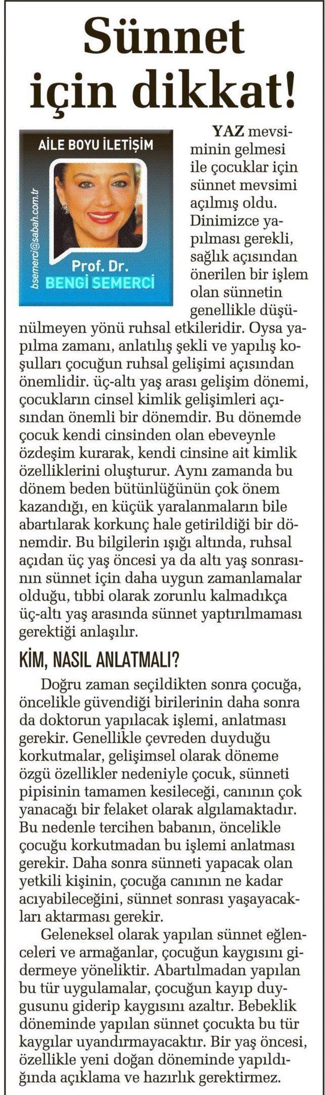SÜNNET İÇİN DİKKAT!
